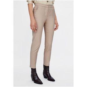 NWT Zara Size XS Pink Beige Ruffle Pants